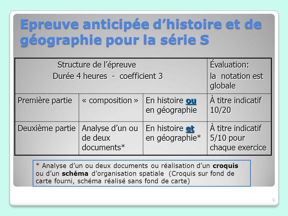 Epreuve anticipée dhistoire et de géographie pour la série S 3 Structure de lépreuve Structure de lépreuve Durée 4 heures - coefficient 3 Durée 4 heur