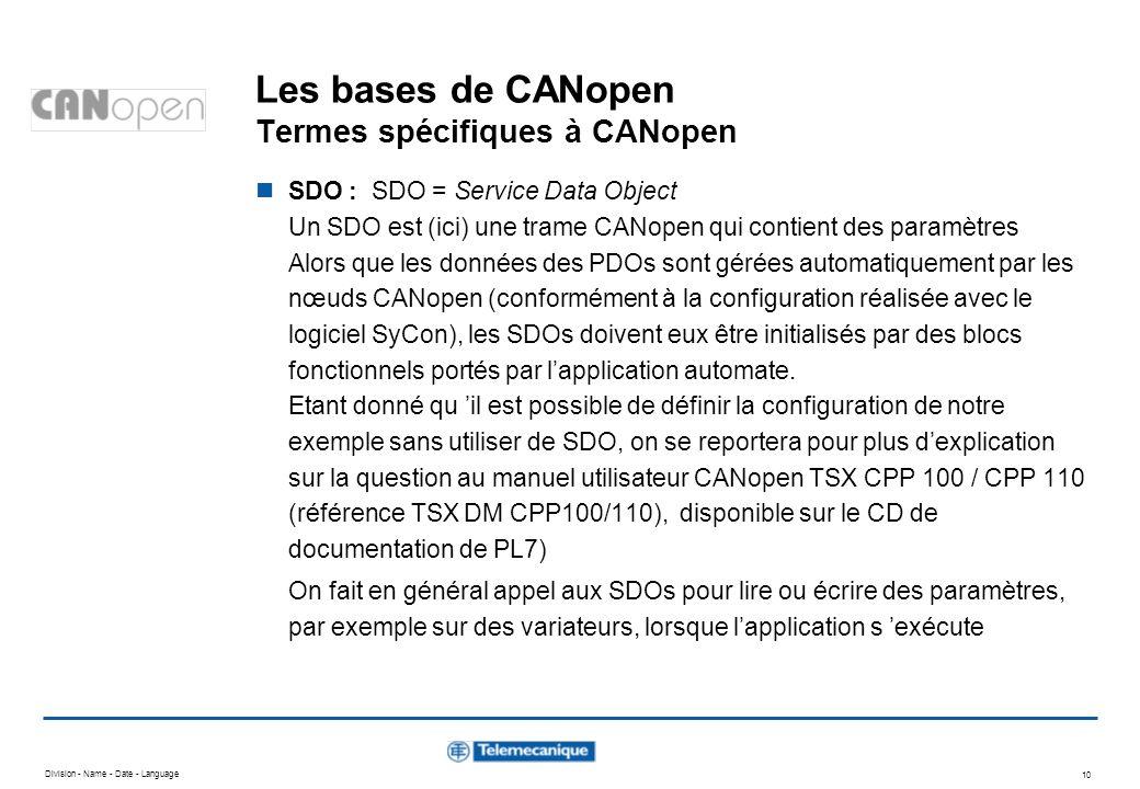 Division - Name - Date - Language 10 Les bases de CANopen Termes spécifiques à CANopen SDO : SDO = Service Data Object Un SDO est (ici) une trame CANo