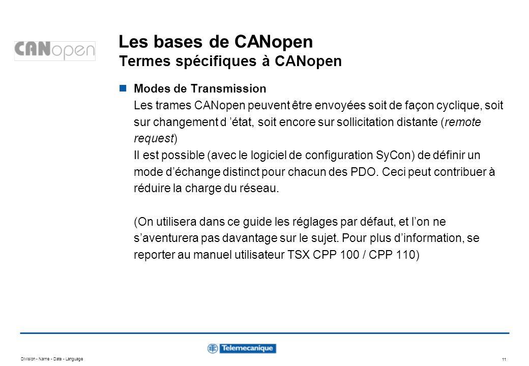 Division - Name - Date - Language 11 Les bases de CANopen Termes spécifiques à CANopen Modes de Transmission Les trames CANopen peuvent être envoyées
