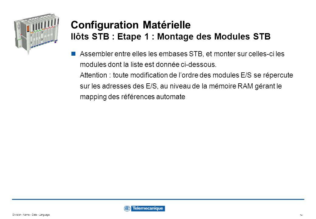Division - Name - Date - Language 14 Configuration Matérielle Ilôts STB : Etape 1 : Montage des Modules STB Assembler entre elles les embases STB, et