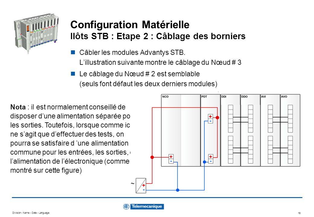 Division - Name - Date - Language 16 Configuration Matérielle Ilôts STB : Etape 2 : Câblage des borniers Nota : il est normalement conseillé de dispos