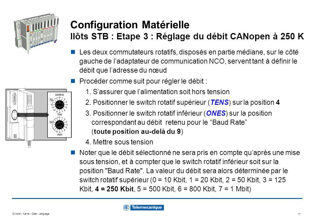Division - Name - Date - Language 17 Configuration Matérielle Ilôts STB : Etape 3 : Réglage du débit CANopen à 250 K Les deux commutateurs rotatifs, d