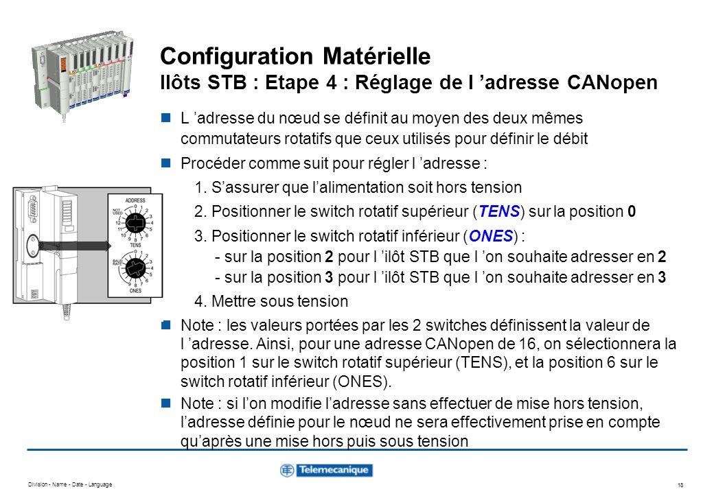 Division - Name - Date - Language 18 Configuration Matérielle Ilôts STB : Etape 4 : Réglage de l adresse CANopen L adresse du nœud se définit au moyen