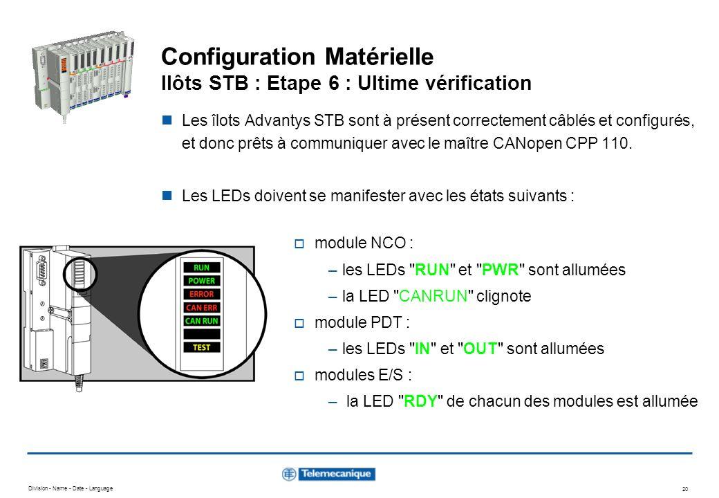 Division - Name - Date - Language 20 Configuration Matérielle Ilôts STB : Etape 6 : Ultime vérification Les îlots Advantys STB sont à présent correcte