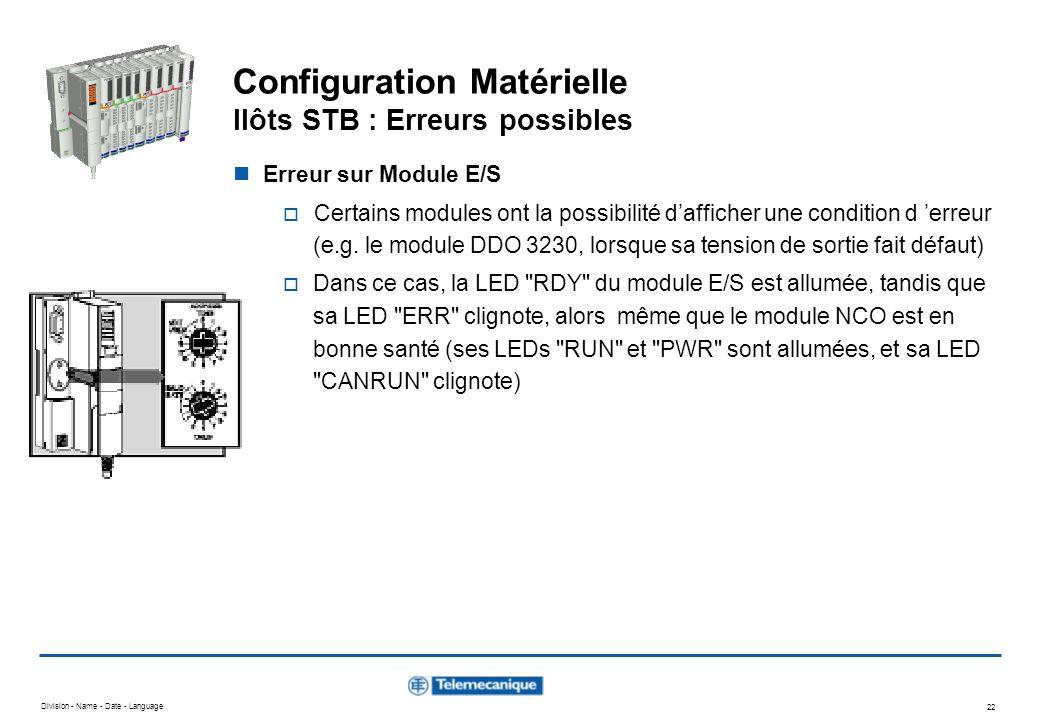 Division - Name - Date - Language 22 Configuration Matérielle Ilôts STB : Erreurs possibles Erreur sur Module E/S Certains modules ont la possibilité