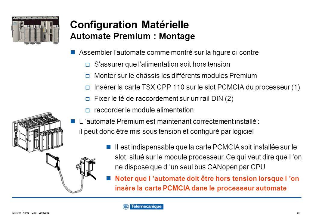 Division - Name - Date - Language 23 Configuration Matérielle Automate Premium : Montage Il est indispensable que la carte PCMCIA soit installée sur l