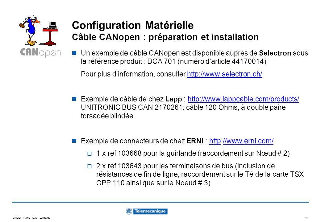 Division - Name - Date - Language 25 Configuration Matérielle Câble CANopen : préparation et installation Un exemple de câble CANopen est disponible a