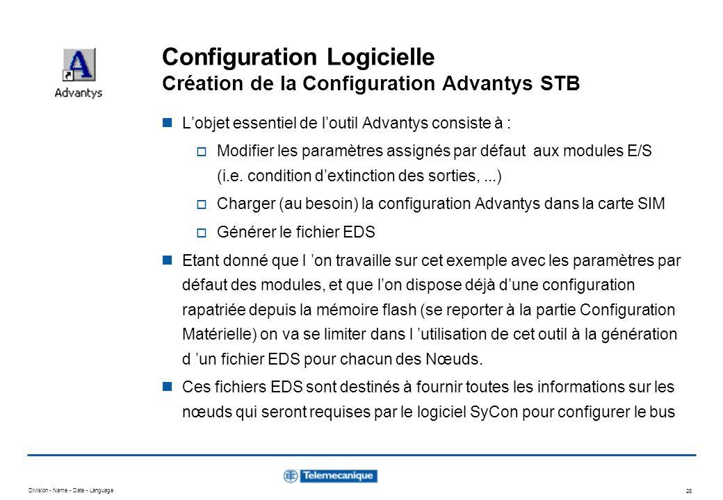 Division - Name - Date - Language 28 Configuration Logicielle Création de la Configuration Advantys STB Lobjet essentiel de loutil Advantys consiste à