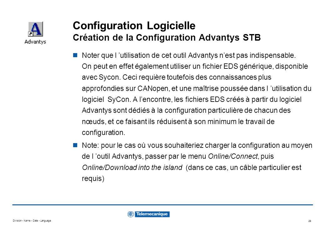Division - Name - Date - Language 29 Configuration Logicielle Création de la Configuration Advantys STB Noter que l utilisation de cet outil Advantys