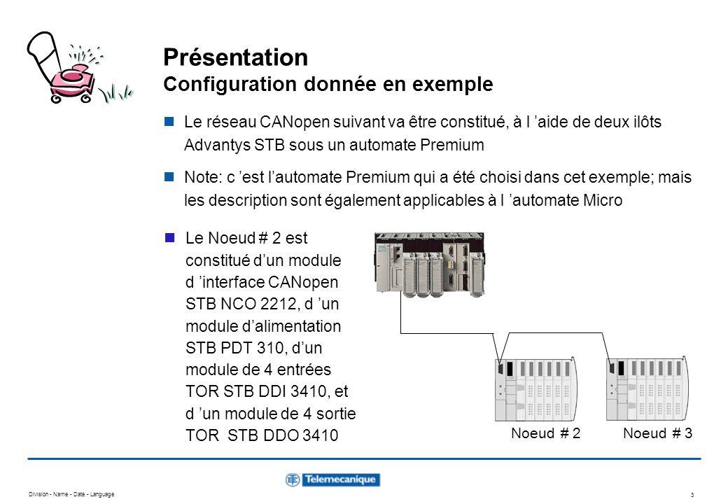 Division - Name - Date - Language 54 Configuration Logicielle CANopen - Etape 7 - Configuration des PDOs - Noeud # 3 Pour ce Noeud #3 SyCon offre 4 PDOs prédéfinis : 2 PDOs en réception et 2 PDOs en émission : RxPDO1 définit les données des sorties TOR de lautomate RxPDO2 définit les données des sorties analogiques de lautomate TxPDO1 définit les données des entrées TOR de lautomate TxPDO2 définit les données des entrées analogiques de lautomate