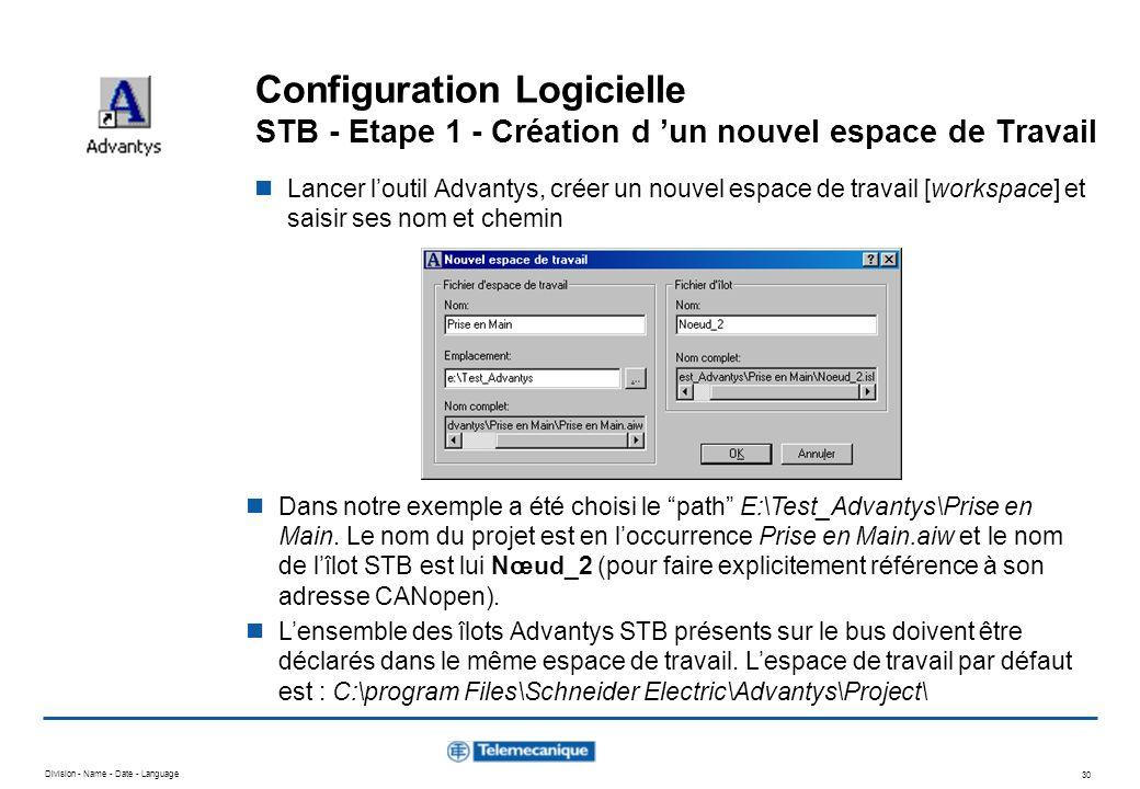 Division - Name - Date - Language 30 Configuration Logicielle STB - Etape 1 - Création d un nouvel espace de Travail Lancer loutil Advantys, créer un