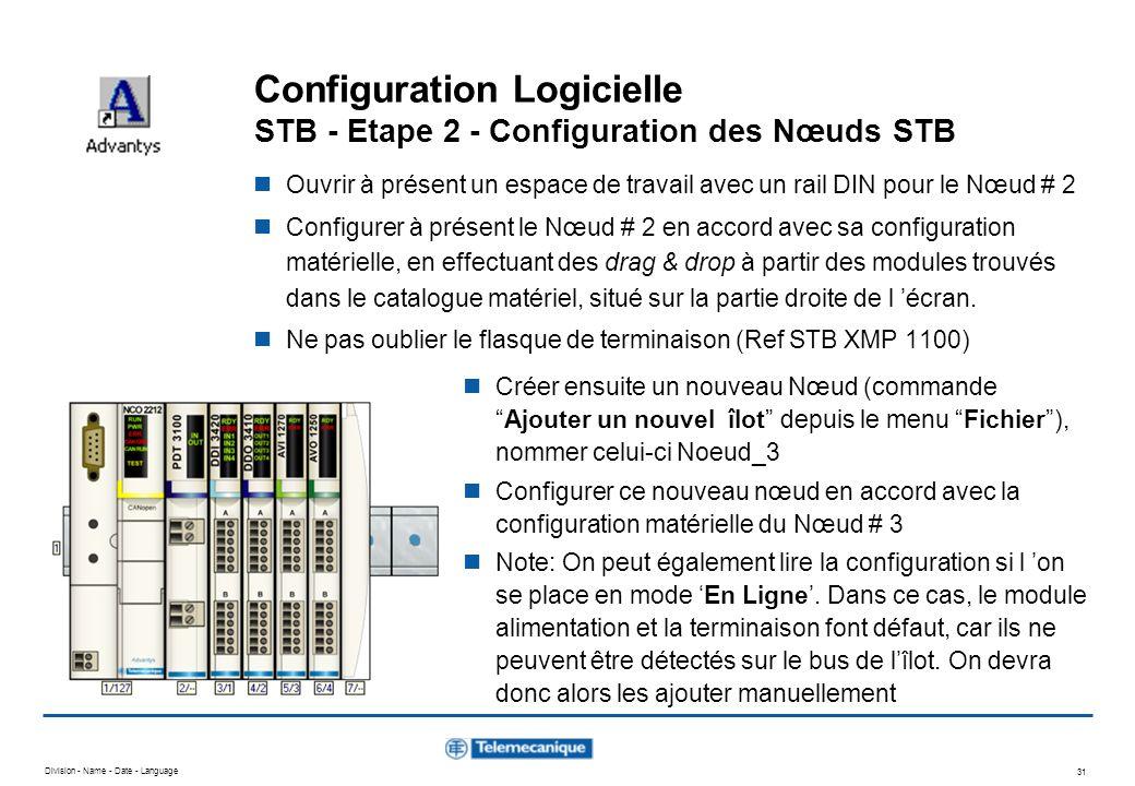 Division - Name - Date - Language 31 Configuration Logicielle STB - Etape 2 - Configuration des Nœuds STB Ouvrir à présent un espace de travail avec u