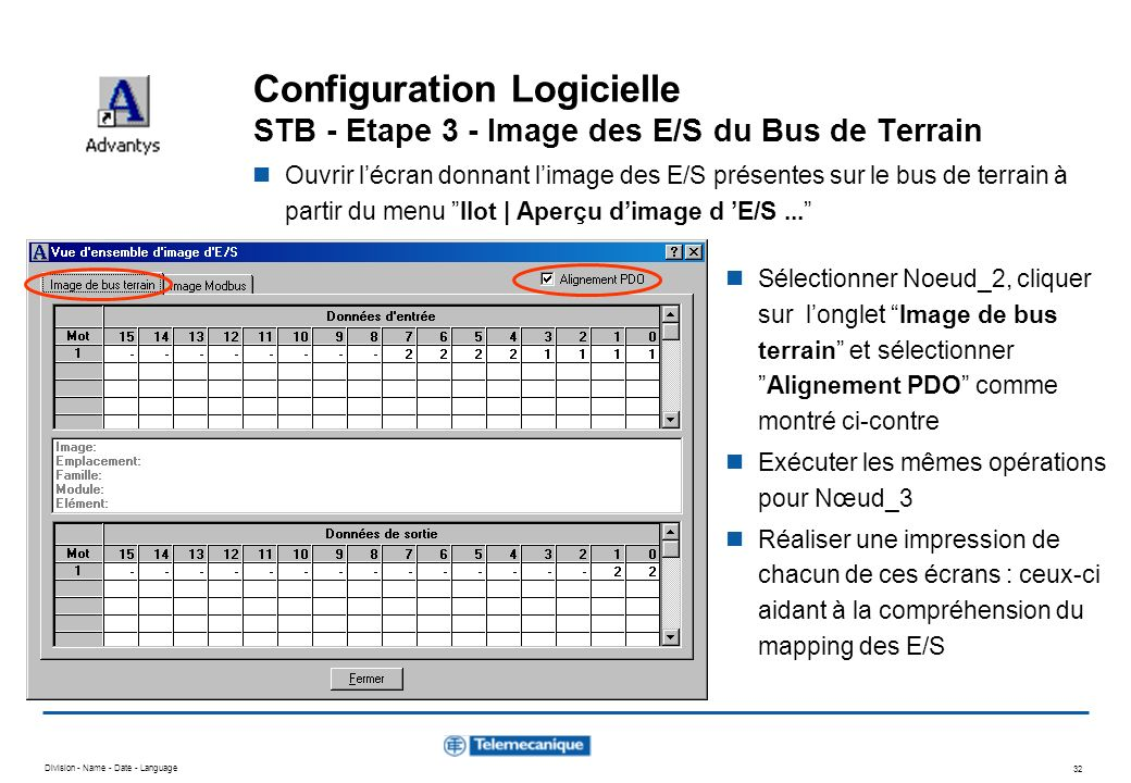 Division - Name - Date - Language 32 Configuration Logicielle STB - Etape 3 - Image des E/S du Bus de Terrain Ouvrir lécran donnant limage des E/S pré