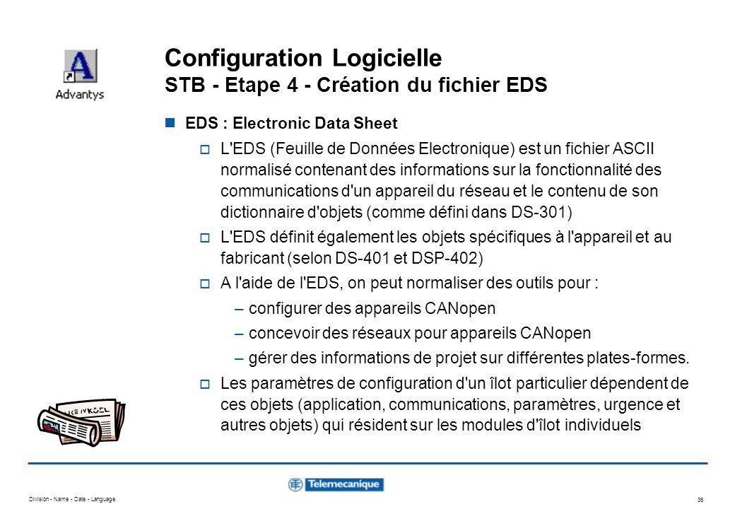 Division - Name - Date - Language 36 Configuration Logicielle STB - Etape 4 - Création du fichier EDS EDS : Electronic Data Sheet L'EDS (Feuille de Do
