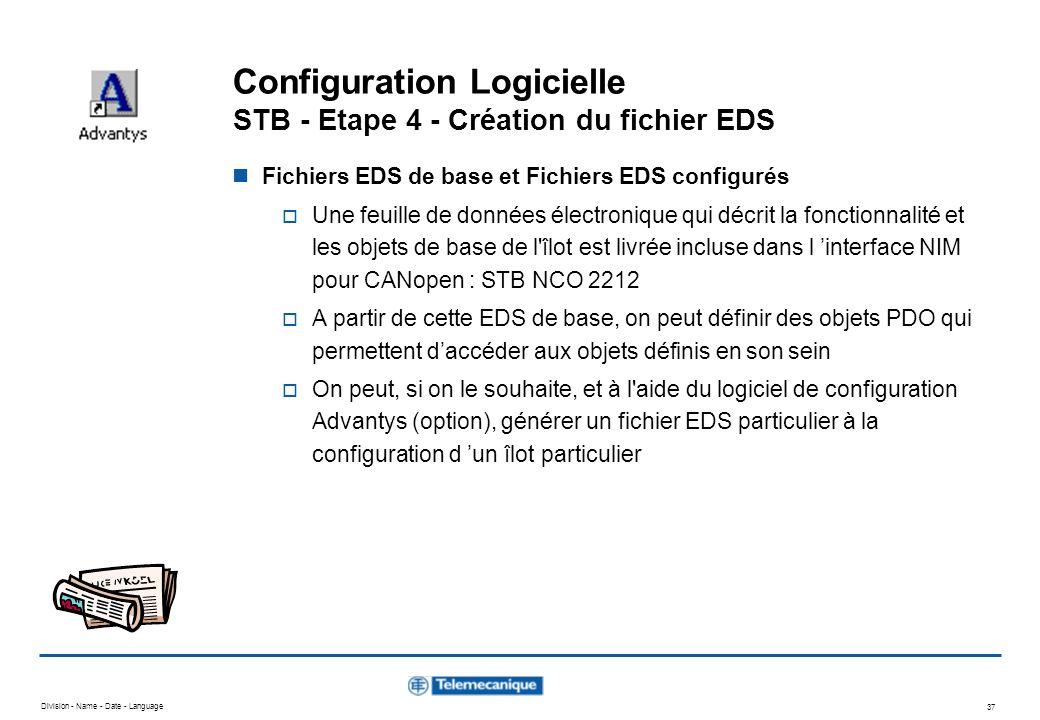 Division - Name - Date - Language 37 Configuration Logicielle STB - Etape 4 - Création du fichier EDS Fichiers EDS de base et Fichiers EDS configurés