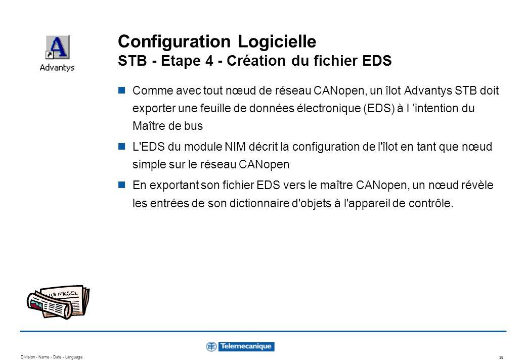 Division - Name - Date - Language 38 Configuration Logicielle STB - Etape 4 - Création du fichier EDS Comme avec tout nœud de réseau CANopen, un îlot