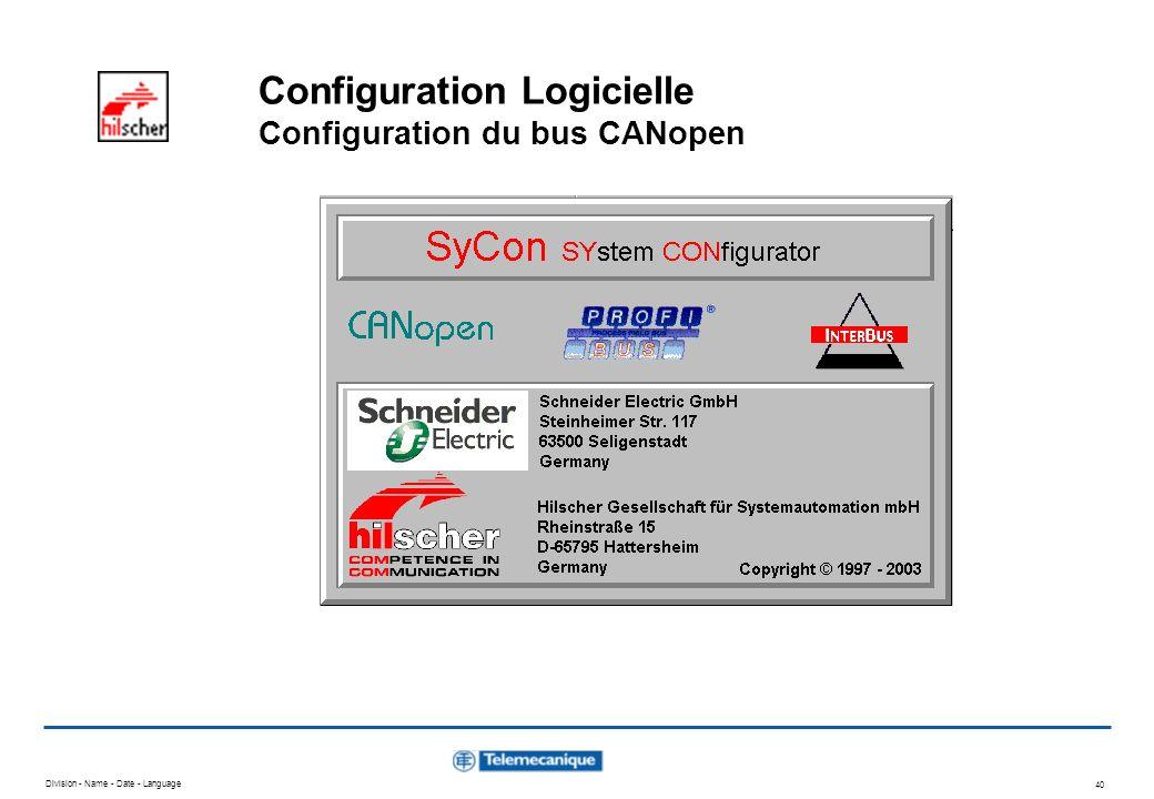 Division - Name - Date - Language 40 Configuration Logicielle Configuration du bus CANopen