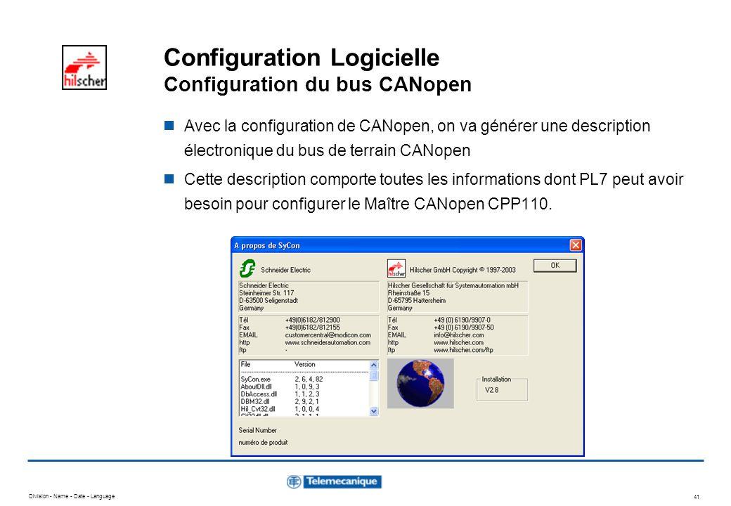 Division - Name - Date - Language 41 Configuration Logicielle Configuration du bus CANopen Avec la configuration de CANopen, on va générer une descrip