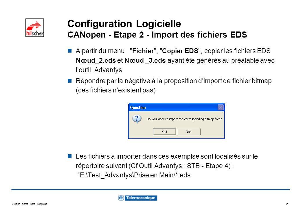 Division - Name - Date - Language 43 Configuration Logicielle CANopen - Etape 2 - Import des fichiers EDS A partir du menu