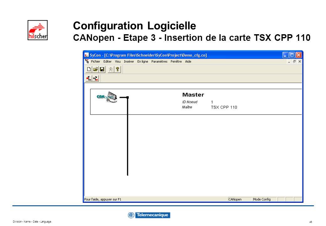 Division - Name - Date - Language 45 Configuration Logicielle CANopen - Etape 3 - Insertion de la carte TSX CPP 110