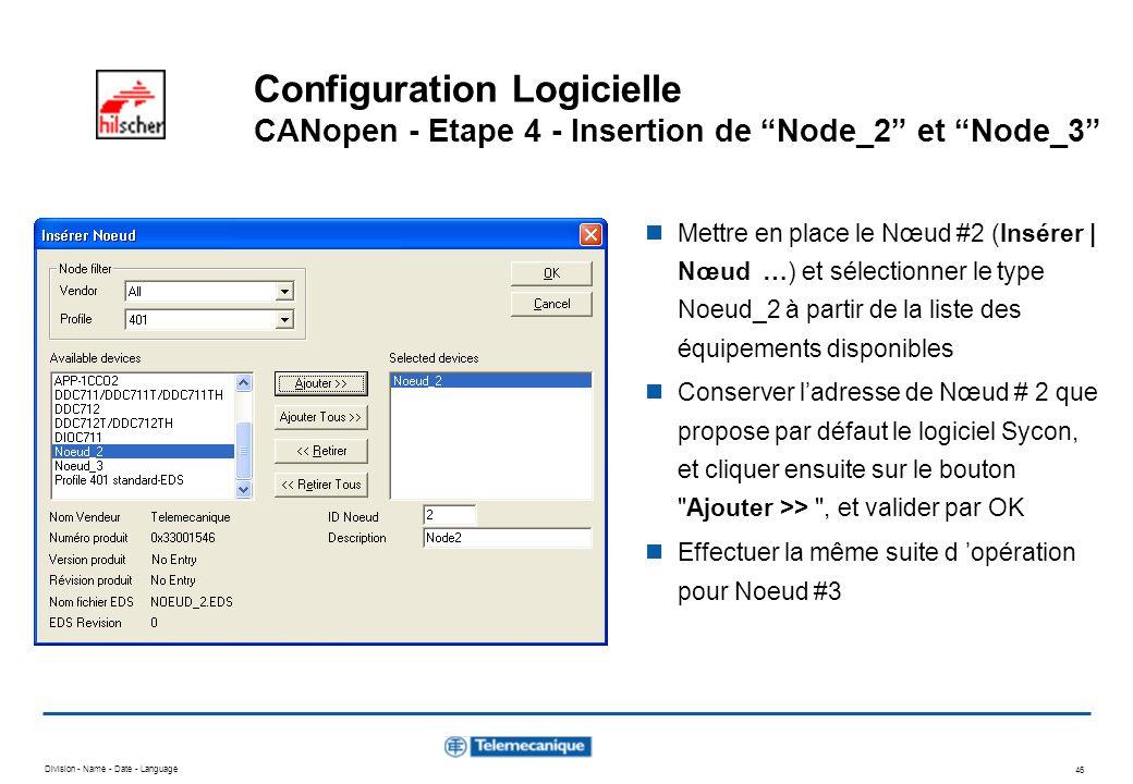 Division - Name - Date - Language 46 Configuration Logicielle CANopen - Etape 4 - Insertion de Node_2 et Node_3 Mettre en place le Nœud #2 (Insérer |