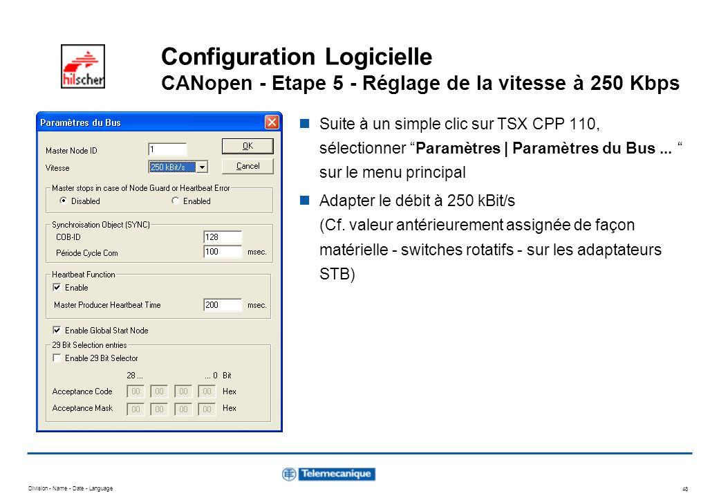 Division - Name - Date - Language 48 Configuration Logicielle CANopen - Etape 5 - Réglage de la vitesse à 250 Kbps Suite à un simple clic sur TSX CPP