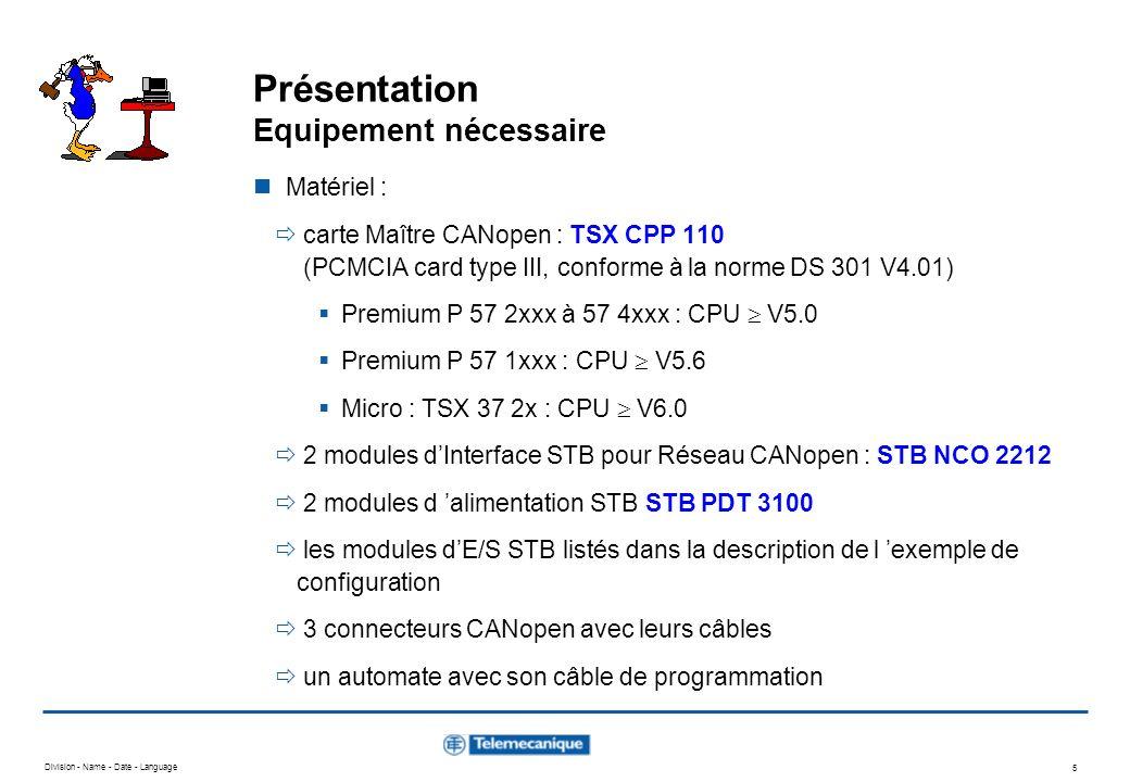 Division - Name - Date - Language 5 Présentation Equipement nécessaire Matériel : carte Maître CANopen : TSX CPP 110 (PCMCIA card type III, conforme à