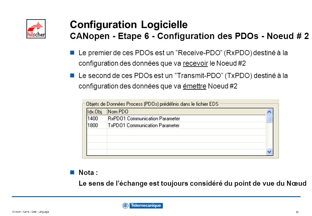 Division - Name - Date - Language 50 Configuration Logicielle CANopen - Etape 6 - Configuration des PDOs - Noeud # 2 Le premier de ces PDOs est un Rec