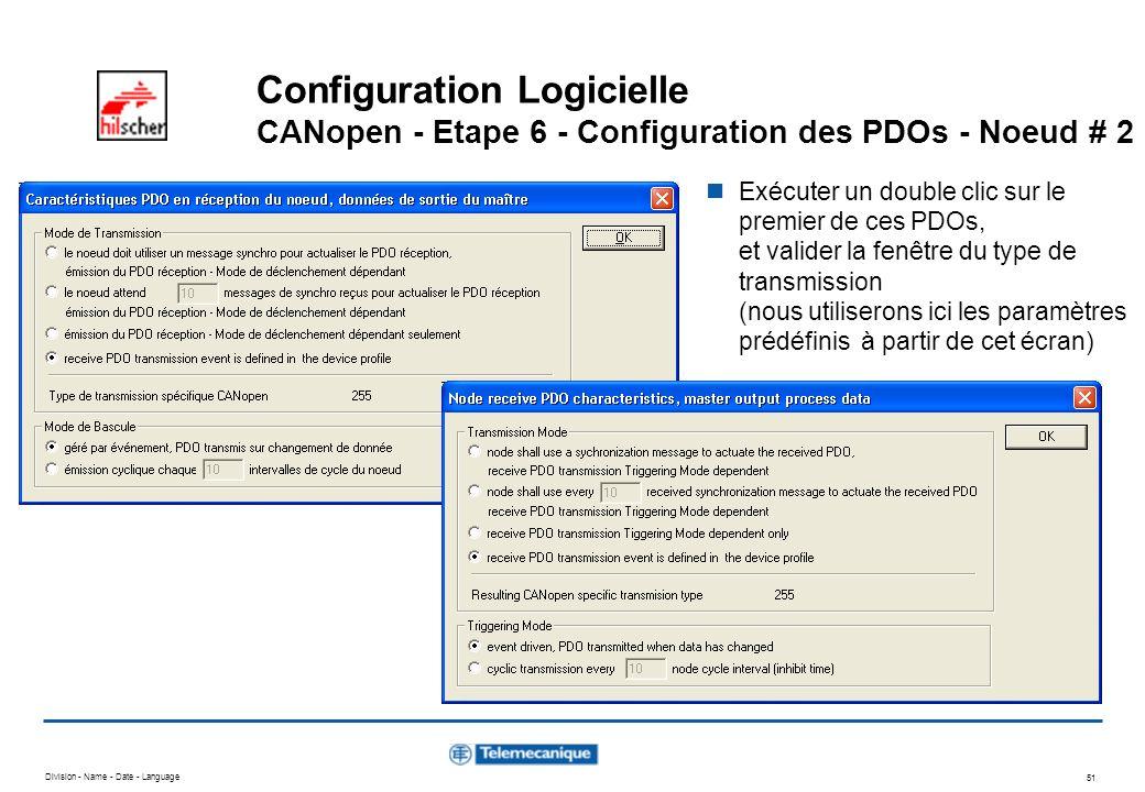 Division - Name - Date - Language 51 Configuration Logicielle CANopen - Etape 6 - Configuration des PDOs - Noeud # 2 Exécuter un double clic sur le pr