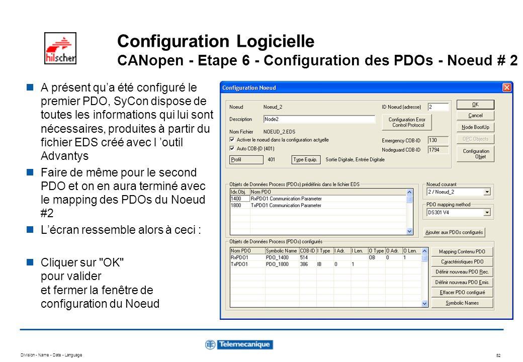 Division - Name - Date - Language 52 Configuration Logicielle CANopen - Etape 6 - Configuration des PDOs - Noeud # 2 A présent qua été configuré le pr
