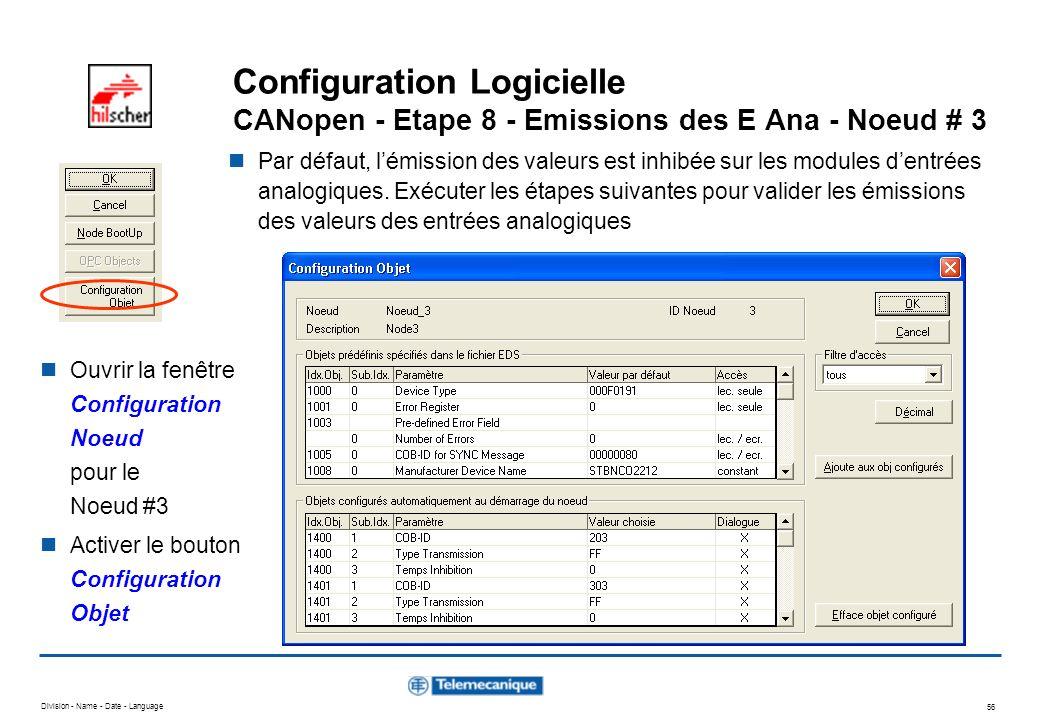 Division - Name - Date - Language 56 Configuration Logicielle CANopen - Etape 8 - Emissions des E Ana - Noeud # 3 Par défaut, lémission des valeurs es