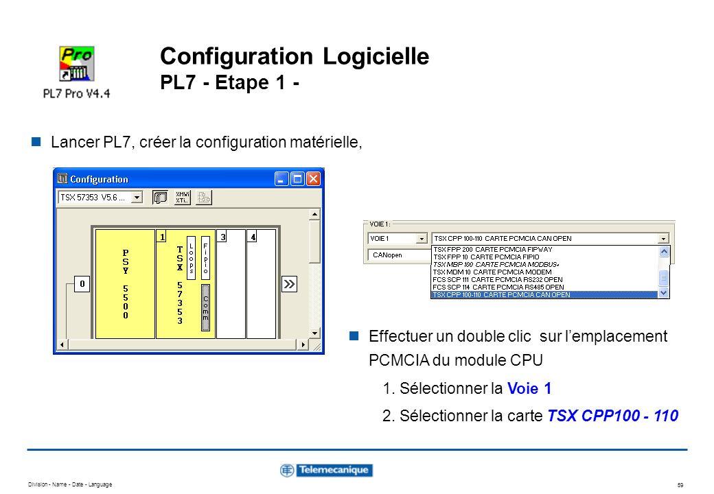 Division - Name - Date - Language 59 Configuration Logicielle PL7 - Etape 1 - Lancer PL7, créer la configuration matérielle, Effectuer un double clic