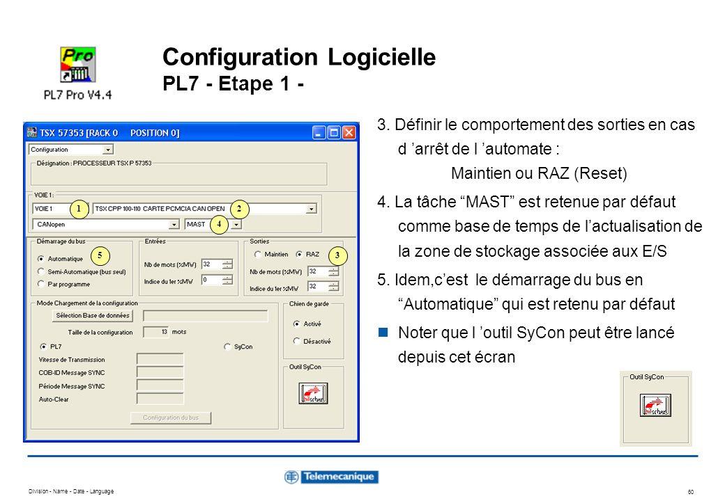 Division - Name - Date - Language 60 Configuration Logicielle PL7 - Etape 1 - 3. Définir le comportement des sorties en cas d arrêt de l automate : Ma