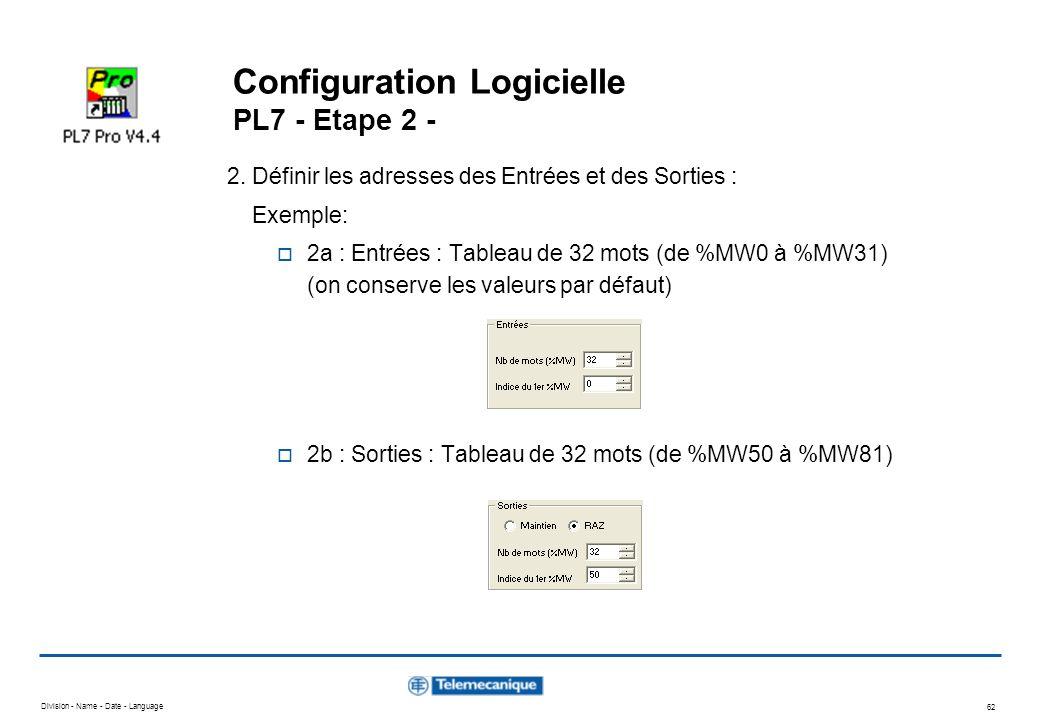 Division - Name - Date - Language 62 Configuration Logicielle PL7 - Etape 2 - 2. Définir les adresses des Entrées et des Sorties : Exemple: 2a : Entré