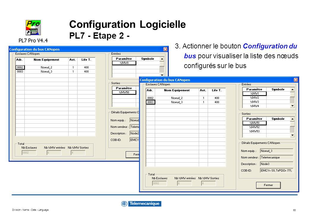 Division - Name - Date - Language 63 Configuration Logicielle PL7 - Etape 2 - 3. Actionner le bouton Configuration du bus pour visualiser la liste des