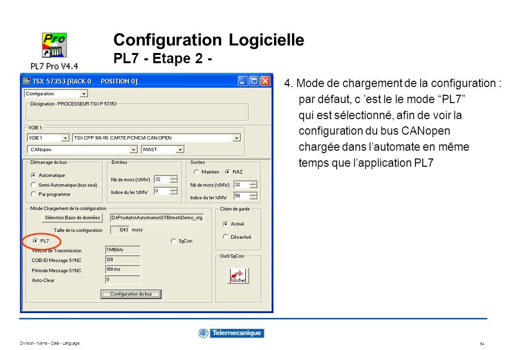Division - Name - Date - Language 64 Configuration Logicielle PL7 - Etape 2 - 4. Mode de chargement de la configuration : par défaut, c est le le mode