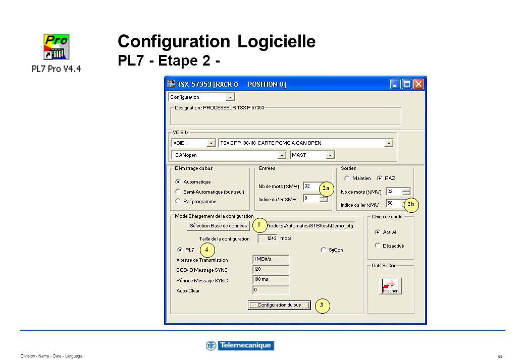 Division - Name - Date - Language 65 Configuration Logicielle PL7 - Etape 2 - 1 2a 4 2b 3