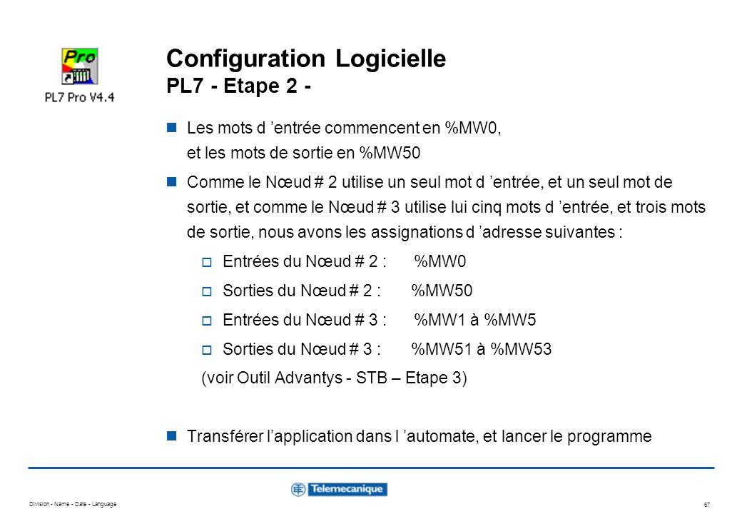 Division - Name - Date - Language 67 Configuration Logicielle PL7 - Etape 2 - Les mots d entrée commencent en %MW0, et les mots de sortie en %MW50 Com