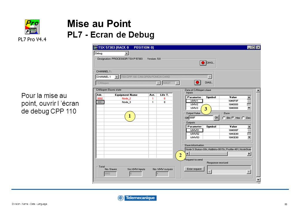 Division - Name - Date - Language 68 Mise au Point PL7 - Ecran de Debug 1 2 3 Pour la mise au point, ouvrir l écran de debug CPP 110