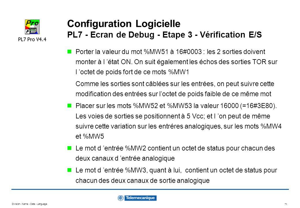Division - Name - Date - Language 71 Configuration Logicielle PL7 - Ecran de Debug - Etape 3 - Vérification E/S Porter la valeur du mot %MW51 à 16#000