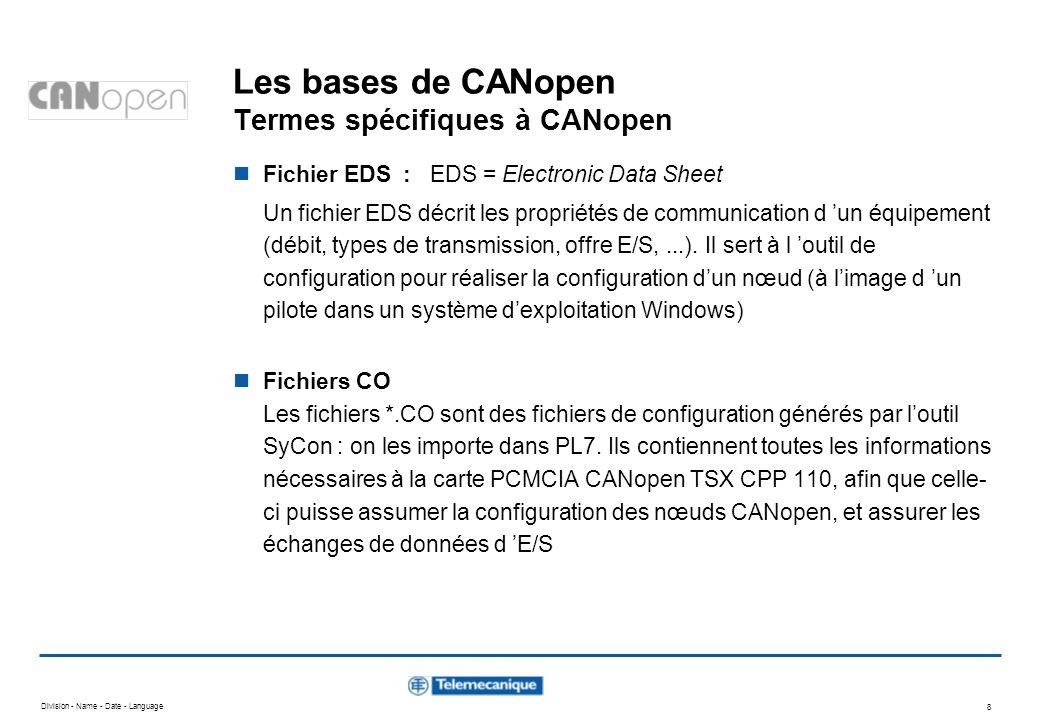Division - Name - Date - Language 8 Les bases de CANopen Termes spécifiques à CANopen Fichier EDS : EDS = Electronic Data Sheet Un fichier EDS décrit