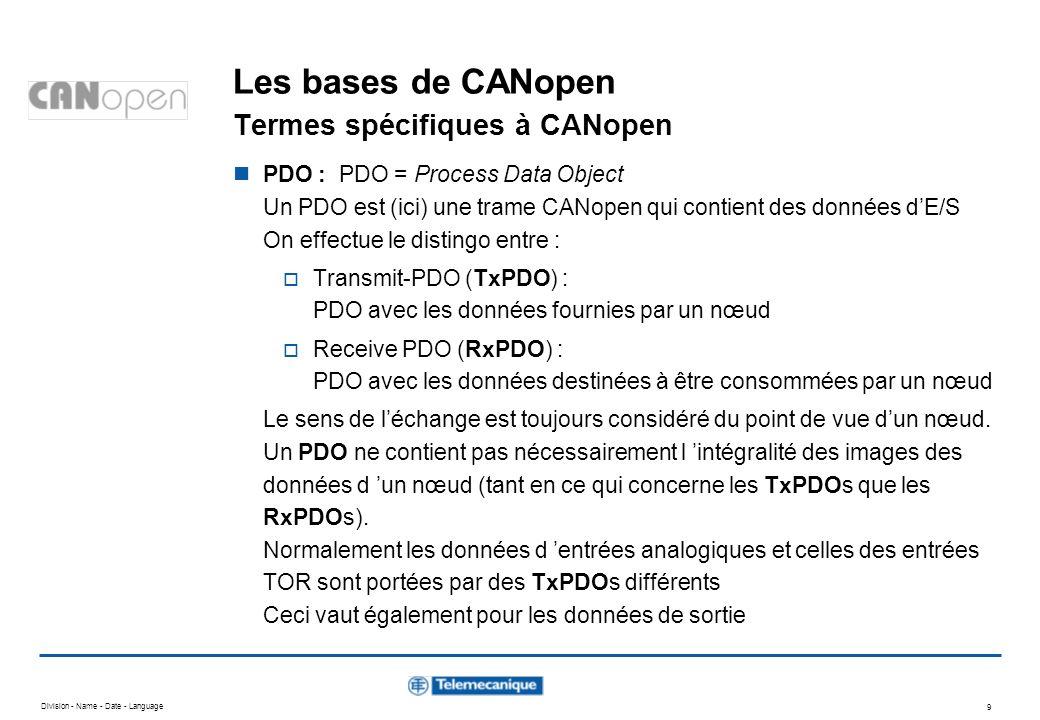 Division - Name - Date - Language 10 Les bases de CANopen Termes spécifiques à CANopen SDO : SDO = Service Data Object Un SDO est (ici) une trame CANopen qui contient des paramètres Alors que les données des PDOs sont gérées automatiquement par les nœuds CANopen (conformément à la configuration réalisée avec le logiciel SyCon), les SDOs doivent eux être initialisés par des blocs fonctionnels portés par lapplication automate.