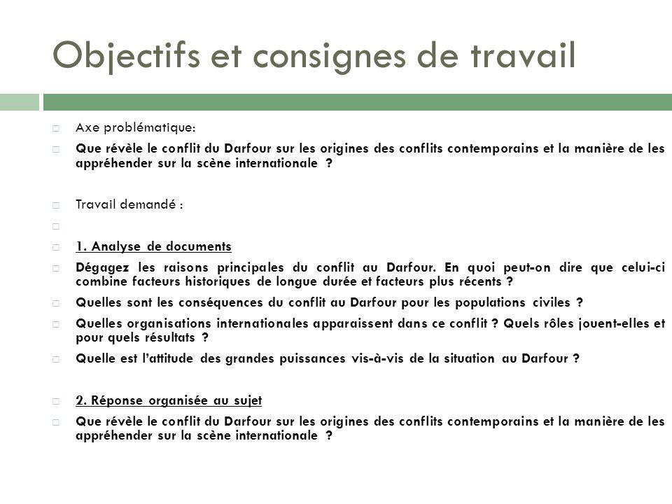 Objectifs et consignes de travail Axe problématique: Que révèle le conflit du Darfour sur les origines des conflits contemporains et la manière de les