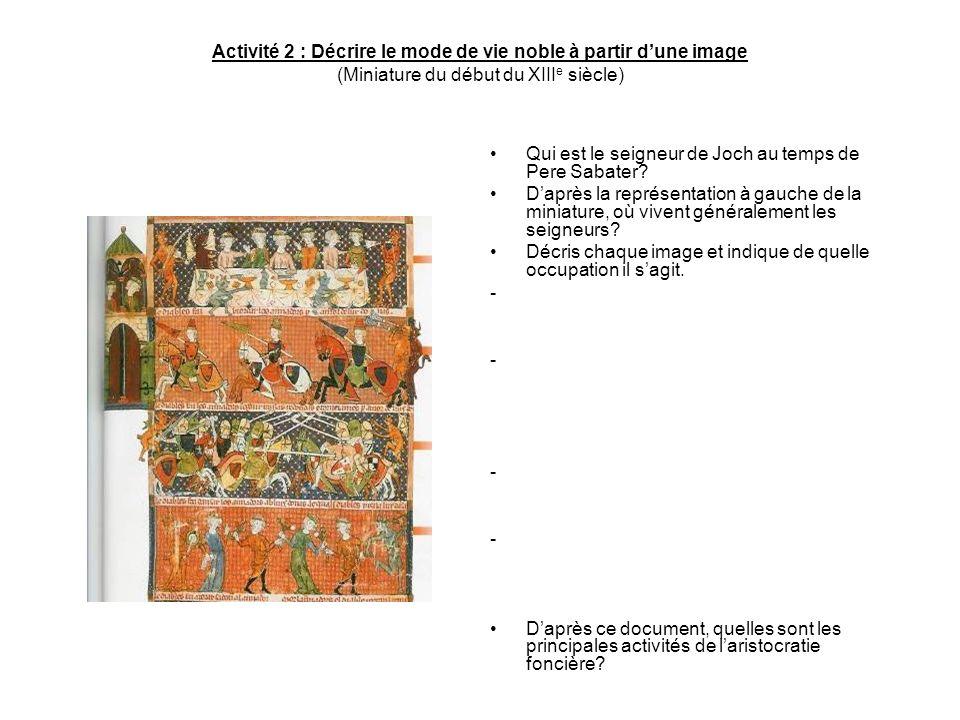 Activité 2 : Décrire le mode de vie noble à partir dune image (Miniature du début du XIII e siècle) Qui est le seigneur de Joch au temps de Pere Sabat