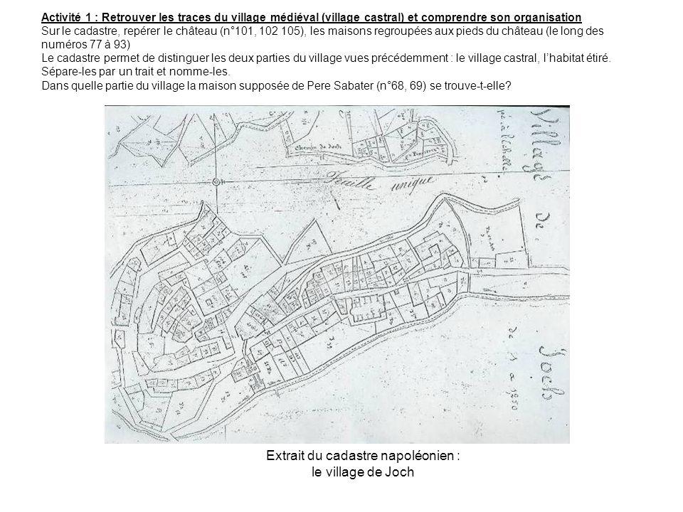 Activité 1 : Retrouver les traces du village médiéval (village castral) et comprendre son organisation Sur le cadastre, repérer le château (n°101, 102