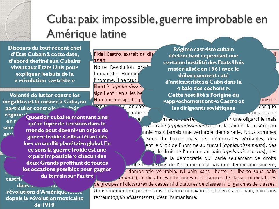 Cuba: paix impossible, guerre improbable en Amérique latine Fidel Castro, extrait du discours prononcé au Central Park de New York, 24 Avril 1959. Not