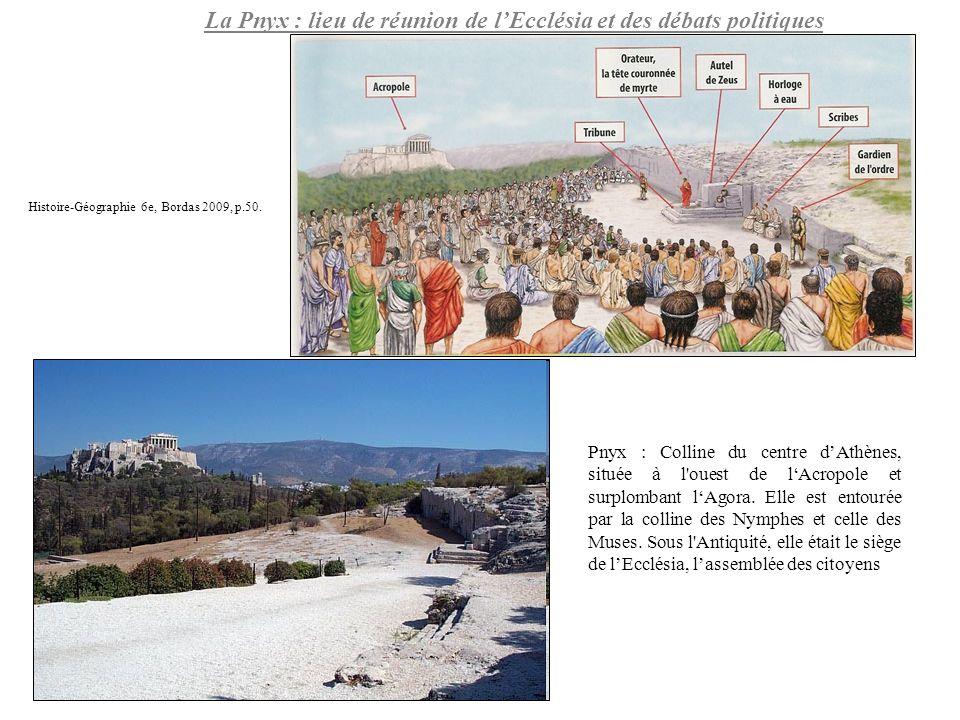 La Pnyx : lieu de réunion de lEcclésia et des débats politiques Pnyx : Colline du centre dAthènes, située à l'ouest de lAcropole et surplombant lAgora