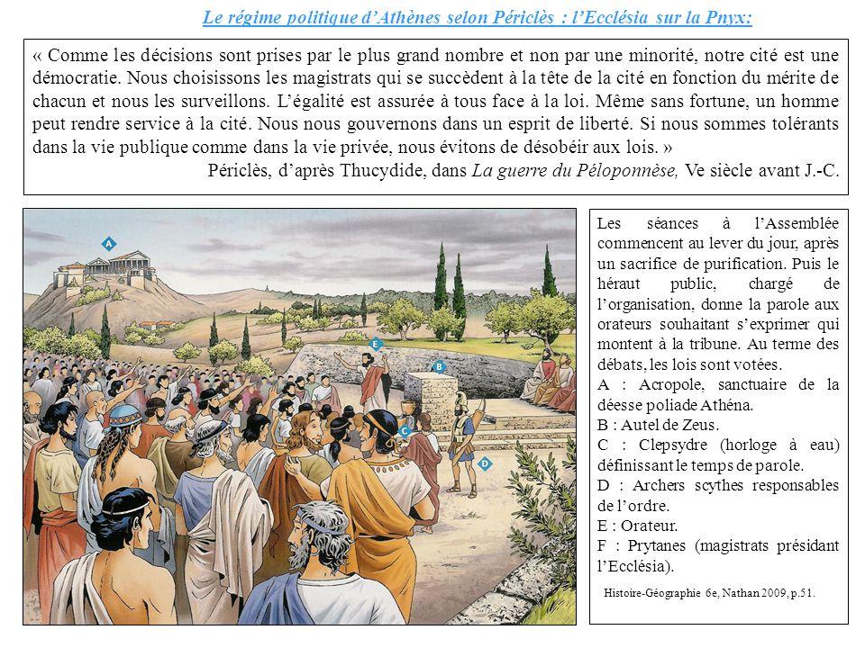 Le régime politique dAthènes selon Périclès : lEcclésia sur la Pnyx: « Comme les décisions sont prises par le plus grand nombre et non par une minorit
