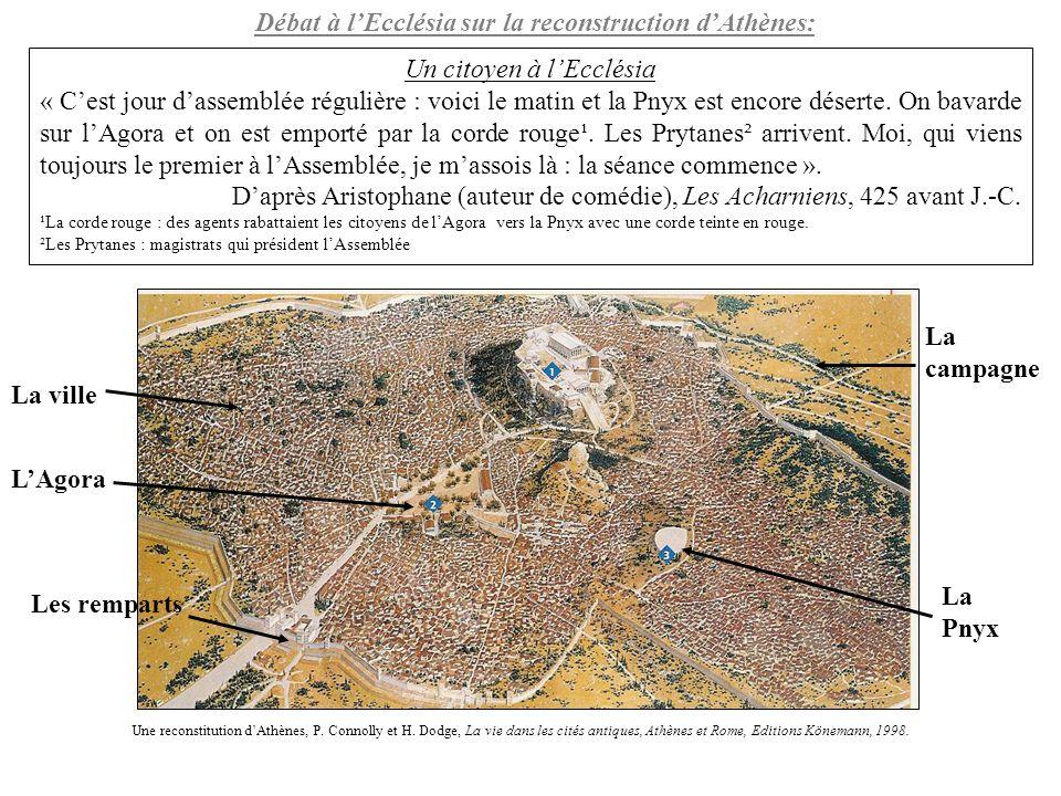 La Pnyx : lieu de réunion de lEcclésia et des débats politiques Pnyx : Colline du centre dAthènes, située à l ouest de lAcropole et surplombant lAgora.