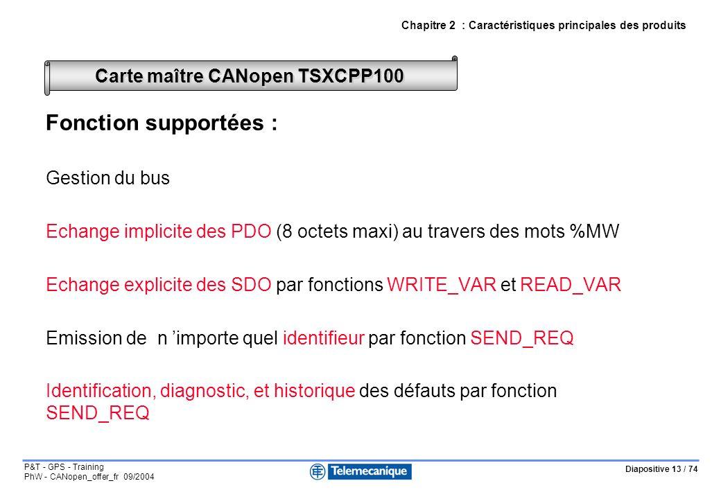 Diapositive 13 / 74 P&T - GPS - Training PhW - CANopen_offer_fr 09/2004 Fonction supportées : Gestion du bus Echange implicite des PDO (8 octets maxi) au travers des mots %MW Echange explicite des SDO par fonctions WRITE_VAR et READ_VAR Emission de n importe quel identifieur par fonction SEND_REQ Identification, diagnostic, et historique des défauts par fonction SEND_REQ Carte maître CANopen TSXCPP100 Chapitre 2 : Caractéristiques principales des produits